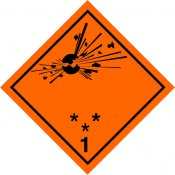 ADR STICKER / SIGN - CLASS 1 EXPLOSIVE SUBSTANCES