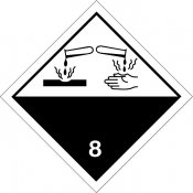 ADR STICKER / SIGN - CLASS 8 CORROSIVE SUBSTANCES